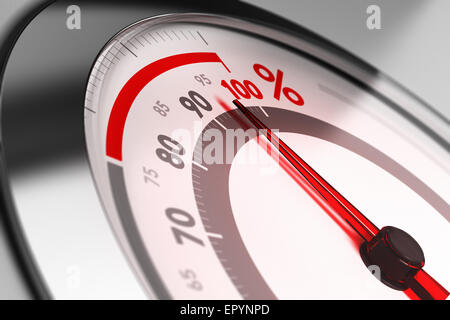 Percent meter with the needle pointing very close to one hundred. Concept of excellence or full capacity. - Stock Photo