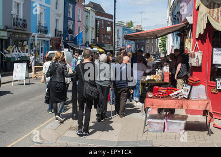 Notting Hill and Portobello Road market, the world's largest antiques market with over 1,000 dealers, London, England, - Stock Photo