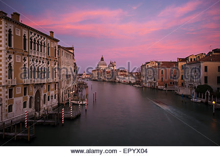 The Grand Canal at Sunset From Accademia Bridge, Venice, Italy - Stock Photo
