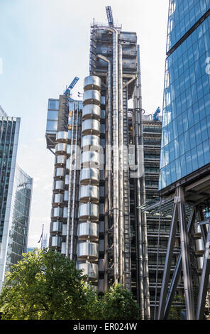 The Lloyd's Building in Lime Street, London EC3 in the heart of the City's insurance and financial district - Stock Photo