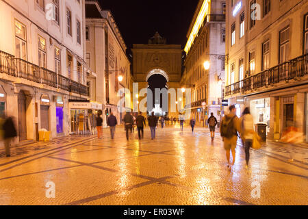 Augusta street by night near commerce square in Lisbon , Portugal - Stock Photo
