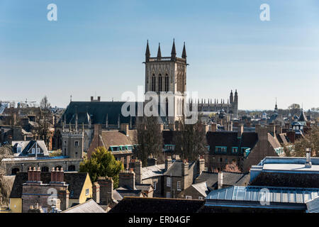 Over the rooftops of Cambridge to the Chapel tower of St John's College, a part of Cambridge University - Stock Photo