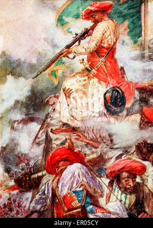 Tipu Sultan confronts his opponents during the Siege of Srirangapatna - Tipu himself stood firing cooly at his advancing - Stock Photo