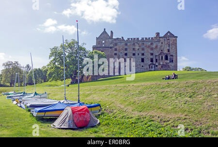 North view of  Linlithgow Palace-birth-place of Mary Queen of Scots-In Linlithgow West Lothian Scotland with boats - Stock Photo