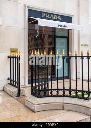 Prada display window, Avenue Montaigne, Paris - street of elegant, luxury, designer fashion shops - Stock Photo