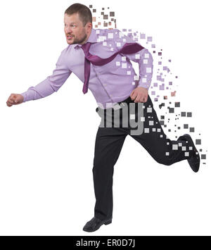Running businessman in a hurry on white isolated background - Stock Photo
