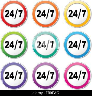 Illustration of twenty four seven icons various colors set - Stock Photo