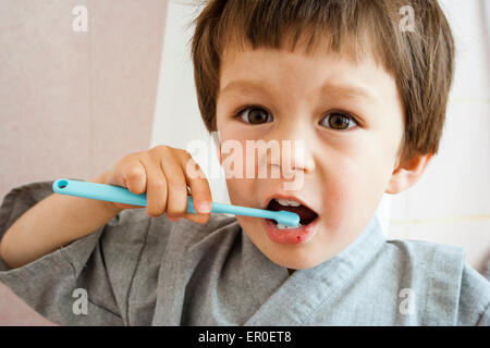 3 - 5 year old Caucasian child, boy. Facing, head and shoulder, holding toothbrush and brushing teeth - Stock Photo