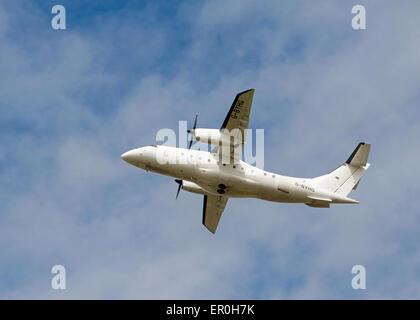 Dornier 328-110 34 seater short haul airliner of Loganair working from Inverness airport.  SCO 9807. - Stock Photo