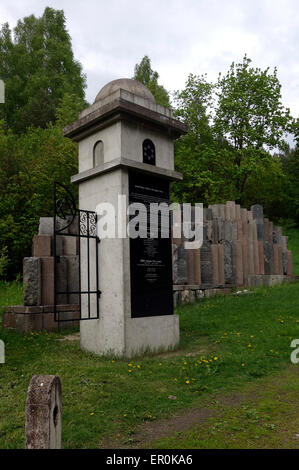 Monument of Jewish gravestones at the memorial site of the old Uzupis Jewish Cemetery in the city of Vilnius the - Stock Photo