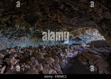 Lava Tunnel, Ana te Pahu, Rapa Nui National Park, Easter Island, Chile, Unesco World Heritage Site - Stock Photo