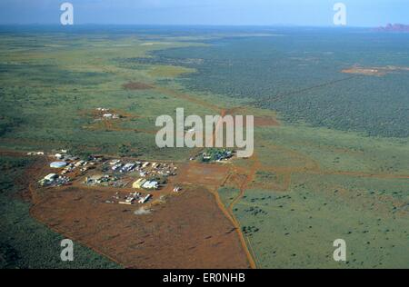 Australia, Northern Territory, Uluru Kata Tjuta National park, Yulara village, maintenance buildings (aerial view) - Stock Photo