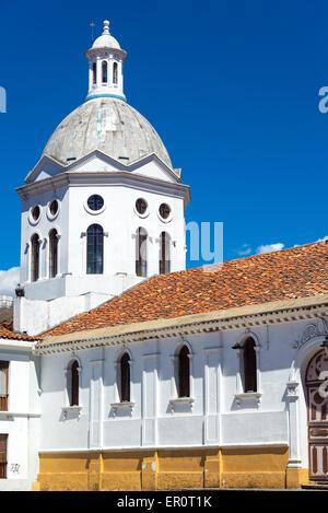 Historic San Sebastian church in the historic center of Cuenca, Ecuador - Stock Photo