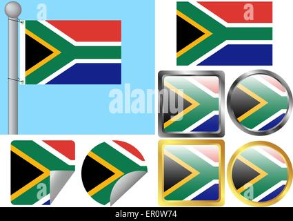 Flag Set South Africa - Stock Photo