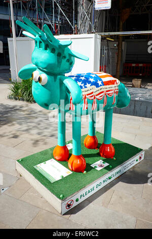 Liberty Bell A Shaun The Sheep Sculpture Raising Money For Children's Charity Fenchurch Place City Of London UK - Stock Photo