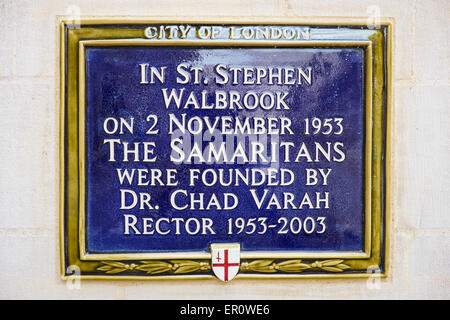 Blue Plaque Marking Where Dr Chad Varah Founded The Samaritans Outside St Stephen Walbrook Parish Church London - Stock Photo