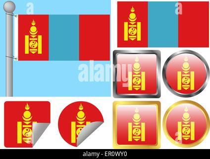 Flag Set Mongolia - Stock Photo