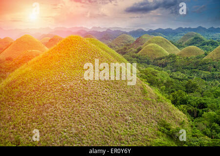 Beautiful scenery of Chocolate Hills in Bohol, Philippines - Stock Photo