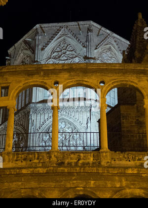Night view of the Cathedral of Valencia and the Micalet - Stock Photo