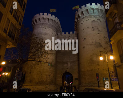 Night view of the ancient entrance gate of the city of Valencia, Spain - Stock Photo