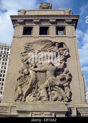 A 1928 sculpture called 'Defense' is featured on a bridgehouse of the Michigan Avenue (DuSable) Bridge in Chicago, - Stock Photo