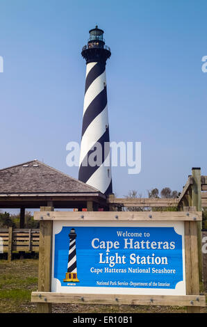 The candy-striped Cape Hatteras Light Station has long been a major attraction in the Outer Banks of North Carolina, - Stock Photo