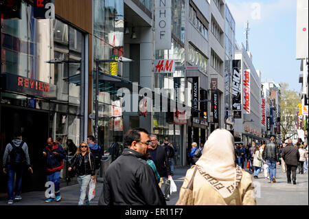 Cologne,Koln,Hohe strass,pedestrian zone,North Rhine-Westphalia,Germany - Stock Photo