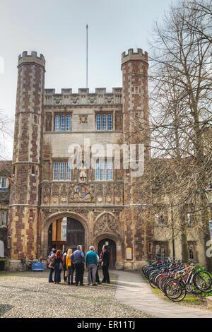 Cambridge, UK - April 9: Entrance to the Trinity College in Cambridge, UK. - Stock Photo
