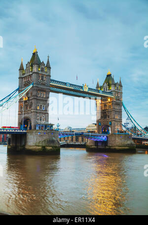 Tower bridge in London, Great Britain at the night time - Stock Photo