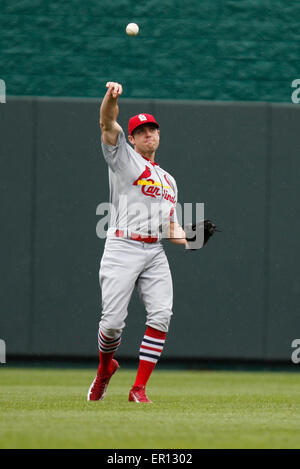 Kansas City, Kansas, USA. 24th May, 2015. Peter Bourjos #8 of the St. Louis Cardinals in action in the second inning - Stock Photo