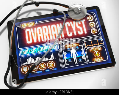 Ovarian Cyst on the Display of Medical Tablet. - Stock Photo