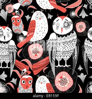 graphic pattern funny owl on a black background - Stock Photo