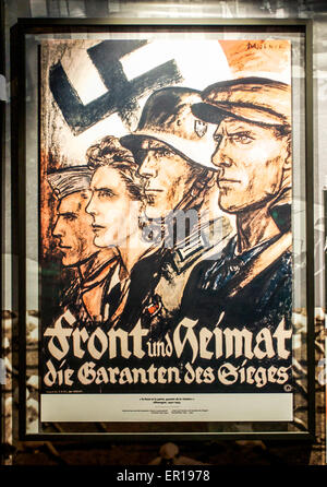 Vintage German World War II patriotic propaganda poster for Front and Home. - Stock Photo