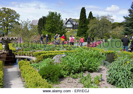 Visitors admiring the shrub borders at Bodnant Gardens National Trust property, Conwy Valley, Wales, UK - Stock Photo