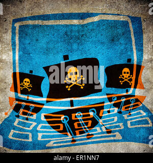 computer pirate concept digital illustration - Stock Photo