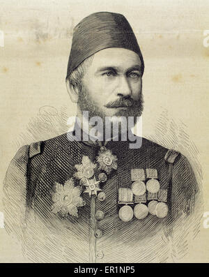 Muhammad Ali Pasha (b. 1829). General in chief of the Turkish army in Bulgaria. Engraving by Arturo Carretero Sanchez - Stock Photo