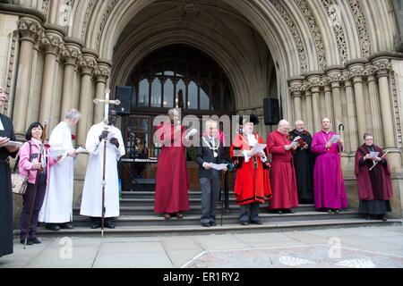 Manchester UK 25th May 2015 The annual Whit Walk from Manchester Cathedral to Albert Square takes place today. It - Stock Photo