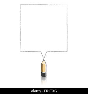 Wooden Lead Pencil with Reflection Drawing Grey Square Speech Bubble on White Background - Stock Photo