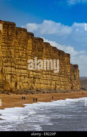Walkers on the beach below the distinctive banded sandstone strata of East Cliff on the Jurassic Coast, Dorset, - Stock Photo