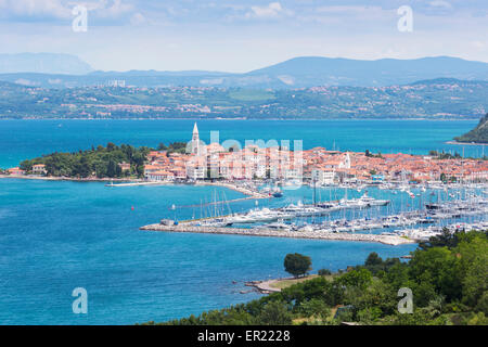Izola, Slovenian Littoral, Slovenia. Overall view from high. - Stock Photo