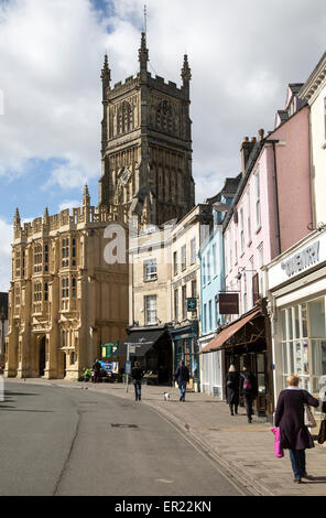 Church and historic buildings in town centre, Cirencester, Gloucestershire, England, UK, - Stock Photo
