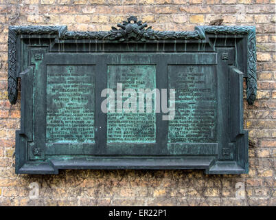 Commemorative Plaque in Ypres to the fallen of the 13th Belgian Field Artillery that fought with the British Army - Stock Photo