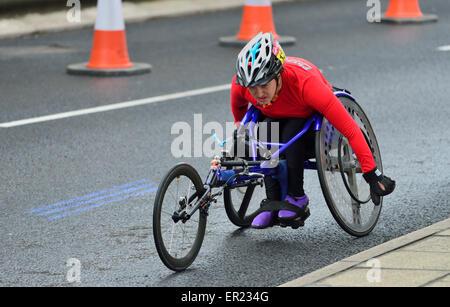 Wheelchair competitior, 2015 Virgin Money London Marathon, London,  United Kingdom - Stock Photo