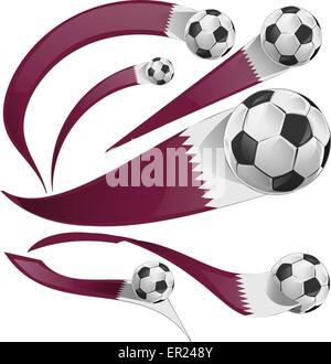 qatar flag set with soccer ball isolated - Stock Photo