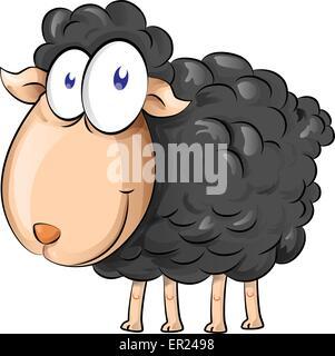 black sheep cartoon isolate on white background - Stock Photo