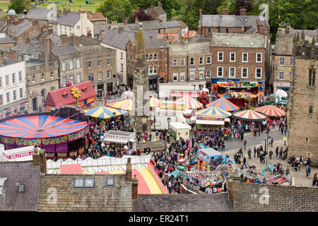 Richmond, North Yorkshire, UK. 25th May, 2015. A Funfair in the market place in the lovely market town of Richmond - Stock Photo