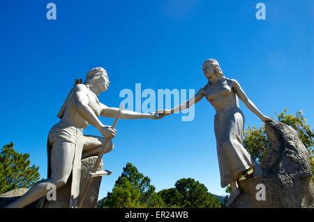 Statues of Lang and Biang, Langbiang mountains, near Da Lat, Vietnam - Stock Photo