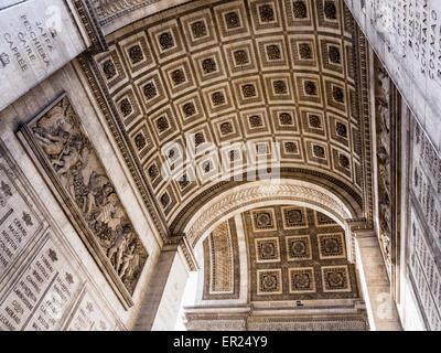 Champs Elysees, Paris, Arc de Triomphe historic monument roof detail - grand, neoclassical triumphal arch honouring - Stock Photo