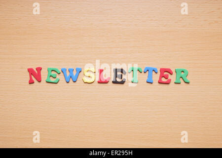 newsletter in foam rubber letters - Stock Photo