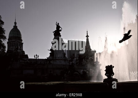 Building of Congress and the fountain in Buenos Aires, Argentina - Stock Photo